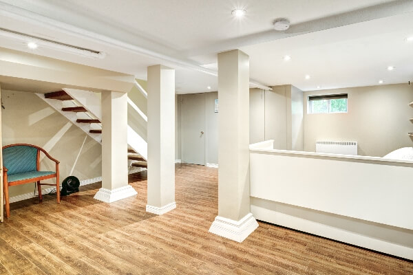 A clean, freshly remodeled, finished basement like this one will make for a comfortable place to spend time with family and friends.