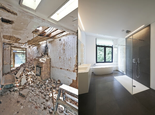 A before and after photo set shows a bathroom completely torn down next to the space after it has been renovated.
